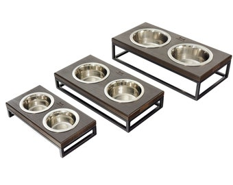 FEEDING Stand Lunch WOOD for cat and dog / Elevated Pet Bowls / Modern feeder / Double diner / small dog feeder for water and food / Black