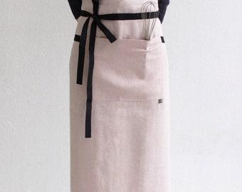 Long linen apron, 16 colors, Linen waist apron, Linen apron for women, Aprons for men, Natural apron with pockets