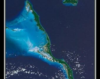 Long Island Bahamas Satellite Poster Map