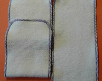 Hemp Organic Fleece Diaper Inserts / Soakers Size 5 x 13 Purple Trim