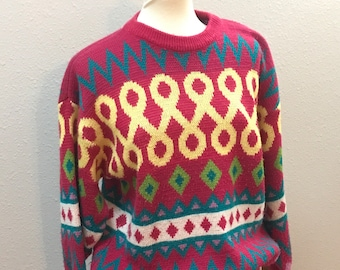 VINTAGE- '80s pink, multicolored pull over sweater, medium