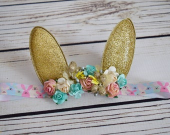 Handcrafted Easter Bunny Ear Woodland Headband - Pink Cream Gold Aqua - Spring Rabbit Headband - Easter Flower Crown - Cute Baby Headband