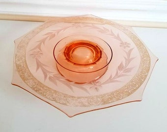Vintage Pink Depression Glass, Cake Stand, Pink Glass, Octagon Serving Plate, Cake Platter, Etched, Sandwich Tray, Tidbit Tray, 1930s