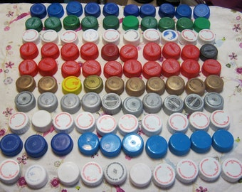 100 Soda Plastic Bottle Lids/Soda Bottle Caps/Colored Lids/ Use in Jewelry/School Crafts/Scout Crafts/Reuse/Recycle/Bottle Cap Jewelry #8