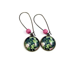 Long earrings - cabochon - tropical flowers