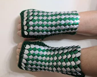 Green and Silver Dragon Scale Gauntlets