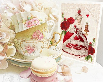 Marie Antoinette card, Valentines day card, red heart, rose, chocolate cake, romantic, birthday card, blank card