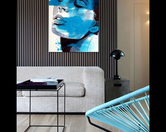 SOLD. PetrolBlue   Portrait black & white with petrol  contemporary art