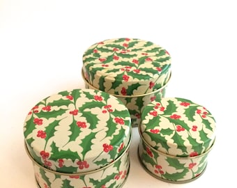Christmas Tins - Nested Trio of Miniature Tins with Holly Berry Motif - Vintage Set
