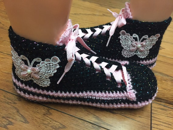 pink 8 shoes slippers black shoes 367 tennis slippers crocheted List 10 sneakers tennis slippers sneaker Crocheted Womens butterfly crochet z1xZwp1q5