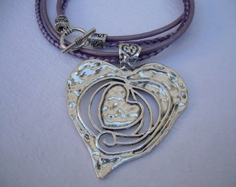 Metallic Purple Leather Necklace, Heart Pendant,  Valentine's Day, Womens Necklace, Womens Jewelry