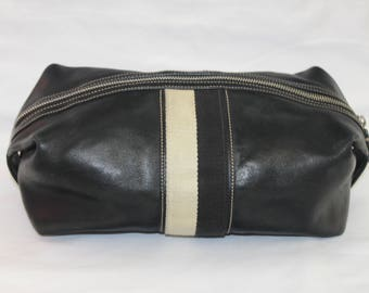 Coach 90's Unisex Black Leather Striped Toiletries Bag ~ Travel Cosmetics Makeup Bathroom Luggage ~ Mens Womens ~ White ~ Christmas Birthday