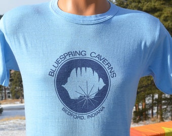 vintage 80s t-shirt BLUESPRING CAVERNS indiana tee Small bedford 70s soft thin