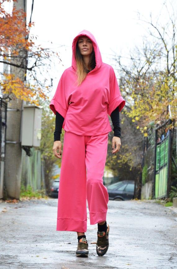 Maxi Sport Cotton Crotch SSDfashion Pants Set Sweatshirt Hooded Womens Pink Drop by Set Elegant q6tAfXA