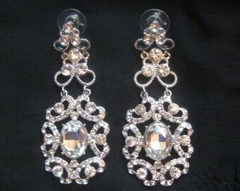 Crystal Rhinestone Drop Earrings Bride Vintage