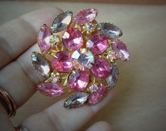 Vintage Rhinestone AB Goldtone Pink Blush Circle Swirl Flower Pin Brooch