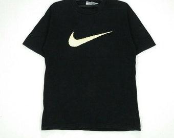 Rare!! NIKE T-shirt nice design big swoosh black colour medium size
