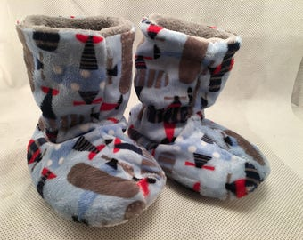 Take off Airplane Minky baby booties - Baby Boy Slippers - Liner warm cuddle minky -You choose the size