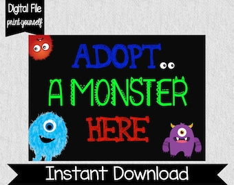 Adopt a Monster Sign - Instant Download - Monster Party Decor - Monster Adoption - Monster First Birthday - Monster Party Favors - Adopt