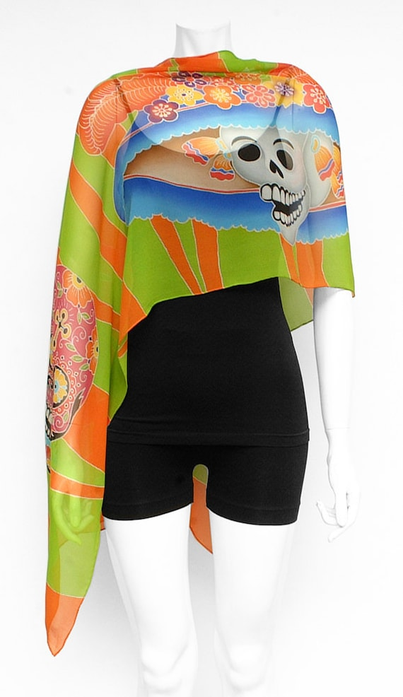 Day of the dead/Dia de los muertos colorful Hand painted scarf