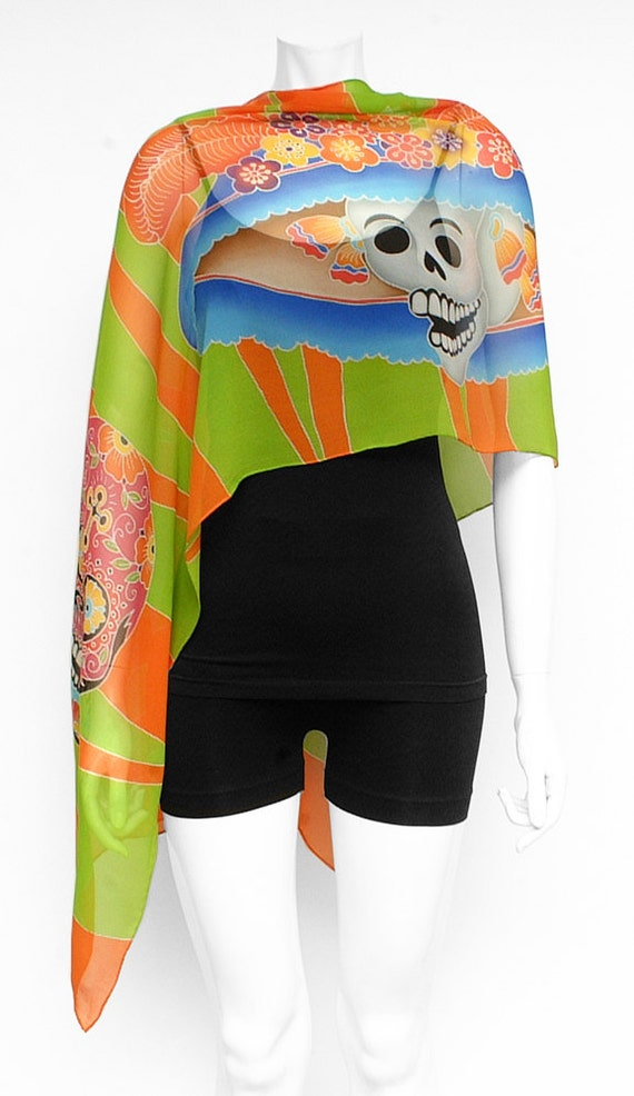 Day of the dead-Dia de los muertos colorful Hand painted scarf