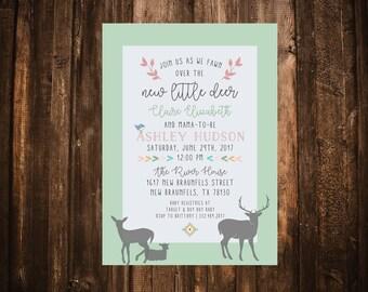 Our Little Deer Baby Shower Invitation; Deer Baby Shower Invitation; Baby Shower Invitation; Rustic Baby Shower Invitation; Deer Baby Shower
