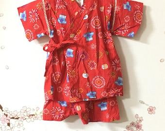 Toddler Kimono, Red Fireworks Design, Baby Kimono, Child Kimono, Baby Gifts, Baby Jinbei, Photo Prop Idea, Ninja Outfit, Kawaii