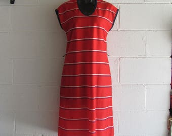 Vintage 70s/80s Retro Casual Red and Blue Striped Dress