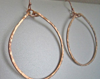 Rose Gold Hoops, Rose Gold Filled Hammered Hoops, Hammered Hoops, Ava Hammered Hoop Earrings in 14K Rose Gold Filled, Size: Small