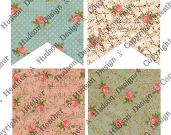 Valentine's Floral Wedding Day Banner Bases 5 colors  4 sizes each Vintage Shabby Chic 20 Printable Digital Collage Sheets Victorian Papers