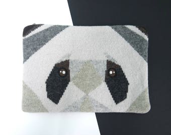 Panda knitted Embroidery IPad case / Clutch