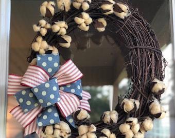 Patriotic Cotton Stem Wreath