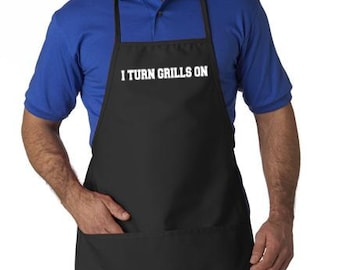 Dad Apron Father I turn grills on saying so cute great gift idea Fits plus size also