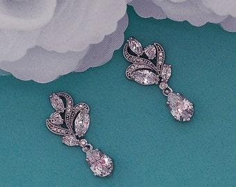 Zircon Earrings Bridal CZ Zirconia Swarovski Crystal Party Dangle Bride Wedding Accessories Weddings Brides Gift Jewelry Drop Accessory 026