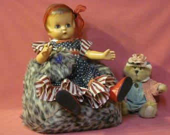 American Girl Doll bean bag chair,Doll bean bag,  faux leopard fur, bean bag