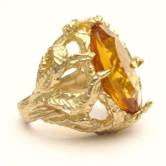 Handmade 14kt Gold Golden Citrine Claw Ring