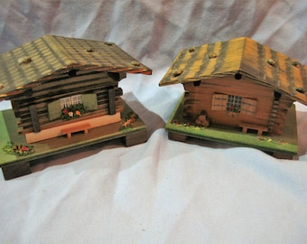 Set of 2 Swiss Chalet Music and Jewelry Boxes