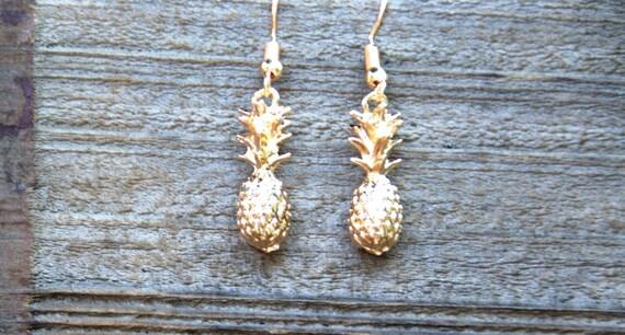 SALE Gold Pineapple Earrings, Dole Whip Inspired Pineapple Earrings, Summer Jewelry, Mini Pineapple, Miniature Fruit Earrings, Mango Costume