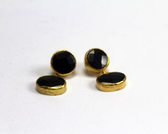 Gold plated Brass Earrings with Onyx Stones - Gemstone earrings