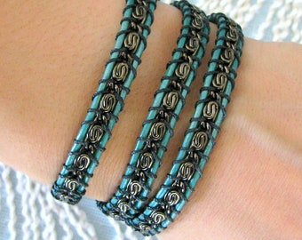 Leather Wrap Chain Bracelet with Gunmetal Chain and Button Clasp