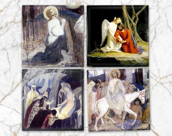 Christian gifts - set of four religious coasters - christian coasters - handmade ceramic tiles - tile coasters - Michail Nesterov paintings
