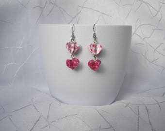 """Heart duo"" Star earrings, paper and beads"