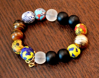 Handmade Wood and Stone Bracelet with Charms _1