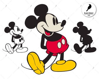Retro Mickey Mouse svg, Mickey Mouse clipart, Mickey svg, Mickey clipart, Disney cricut silhouette – eps, dxf, png pdf svg – digital files