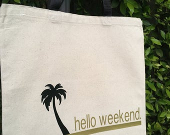 Hello Weekend Canvas Market Tote Bag