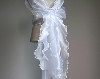 Bridal design elegant shawl. White organza shawl. Wedding wrap.Bridal stole. Bridal cover up.Wedding shawl. Wedding capelet.