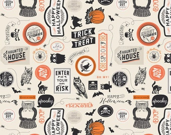 Happy Haunting Halloween Fabric, Riley Blake C4672 Cream, Deena Rutter, Halloween Words Collage Fabric, Cotton Fabric for Halloween