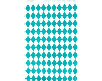 Teal Diamond Pattern Paper Bags Party Accessory for Children's Party Bags, Wedding Favours and Gifts