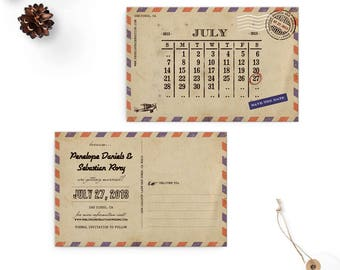 Calendar Save the Date Cards, 4x6, Save the Date Cards, Airmail 3