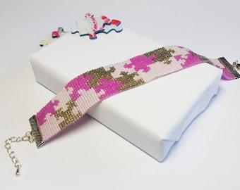 Pink and silver - Puzzle Miyuki glass beads bracelet